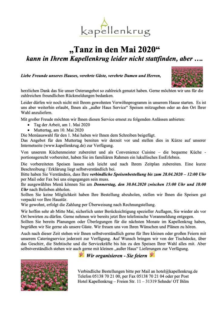 - Tanz in den Mai 2020 - Menükarte