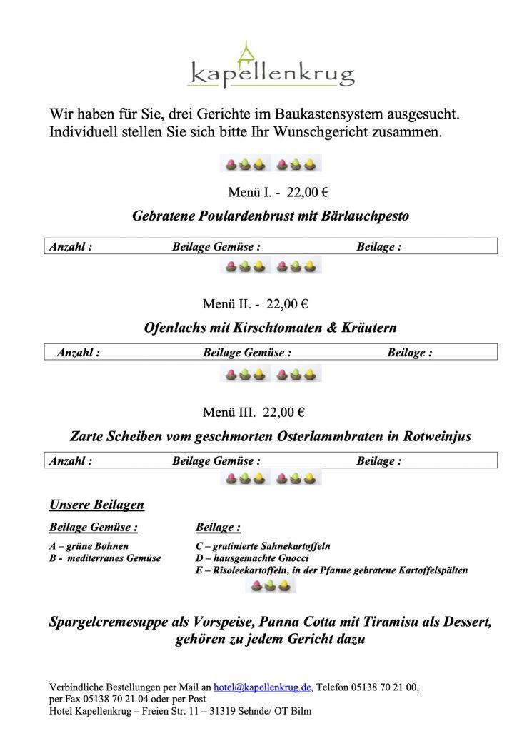 - Oster Catering 2020 Menü Außer Haus