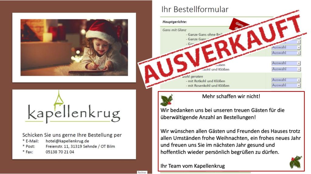 - Ausverkauft - Weihnachtsessen – Außer Haus